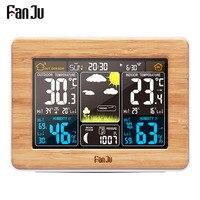 FanJu Alarm Clock Weather Station Temperature Humidity Wall Sensor Barometer Forecast Electronic Digital Watch Desk Table Clocks