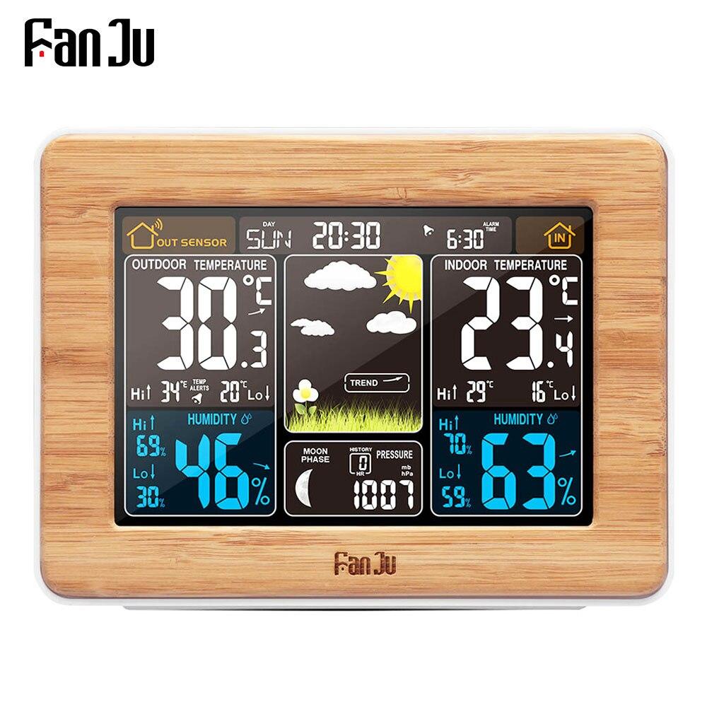 FanJu réveil Station météo température humidité mur capteur baromètre prévision électronique numérique montre bureau Table horloges