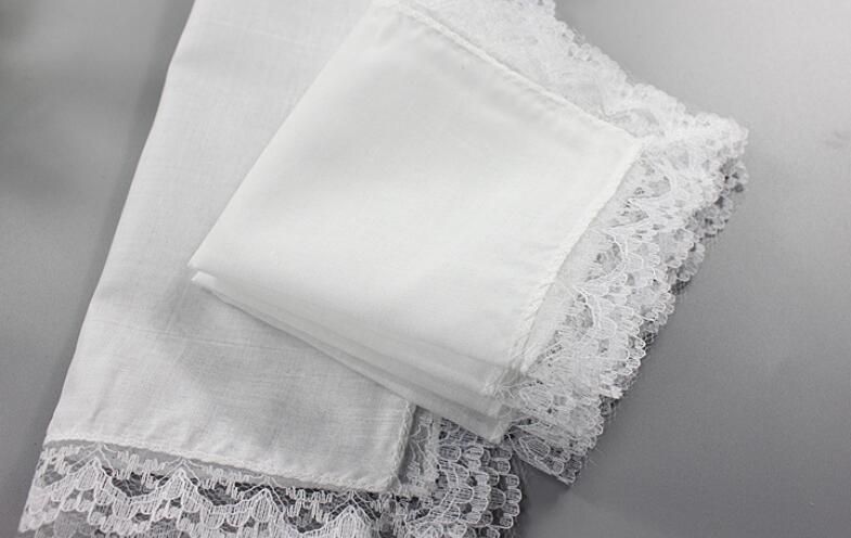 Freeshipping 10pcs/lot new 23*25cm white lace handkerchief, cotton handkerchief woman , wedding decoration cloth napkins