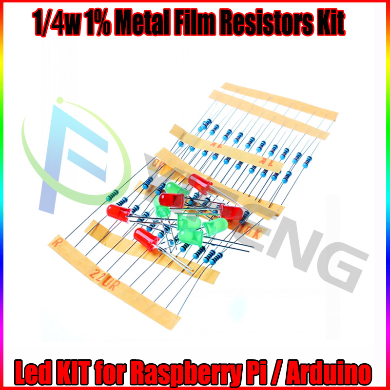50pcs 1K 10K 100K 220 Ohm 1/4W Metal Film Resistor And Led KIT For Raspberry Pi / Arduino
