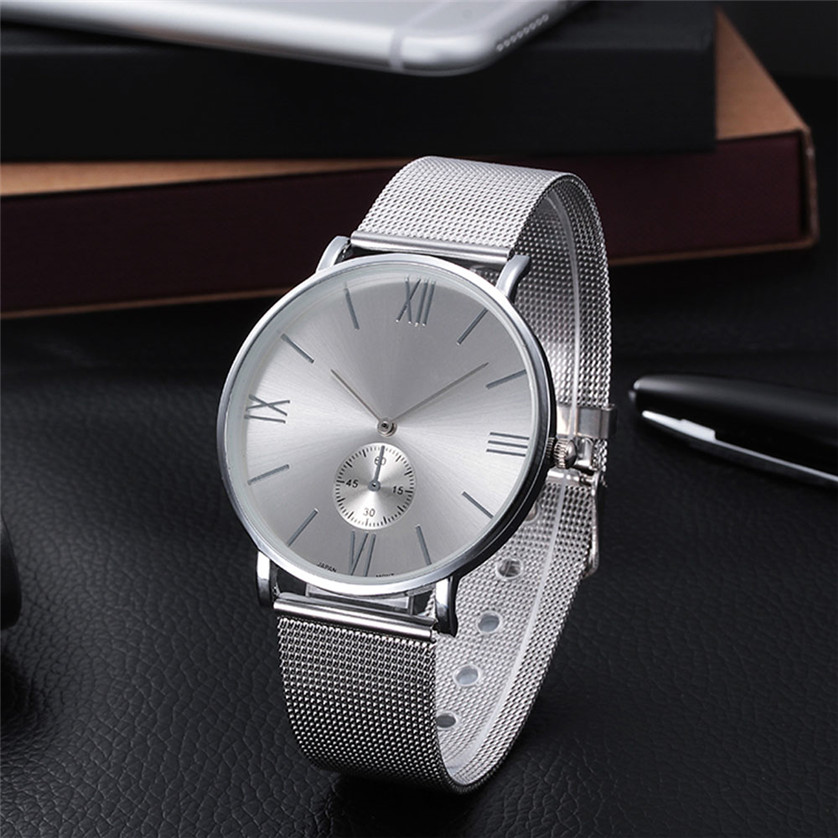2017 Casual Silver Women Watch Crystal Stainless Steel Buckle Roman Numbers Analog Quartz Lady Wrist Watch Bracelet Watch Z510 stylish 8 led blue light digit stainless steel bracelet wrist watch black 1 cr2016