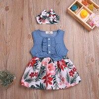Джинсовое платье без рукавов с бантом и цветочным принтом + повязка на голову для маленьких девочек; хлопковое летнее платье принцессы для д...