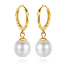 цена на Hot Sell Real Gold 18K Pearl Drop Earrings New Natural 6.7-7mm White Freshwater Pearl Earrings For Women Wedding Jewelry Gift
