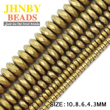 JHNBY Matte Faceted Flat Round Hematite 3/4/6/8/10mm Natural Stone ore Gold colors Loose beads for Jewelry bracelets Making DIY