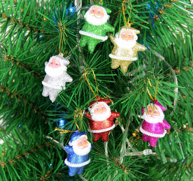 Us 1 44 10 Off 6pcs Lot Multi Colors Christmas Tree Ornaments Home Decor Merry Christmas Ornament Santa Claus Decoration In Pendant Drop Ornaments