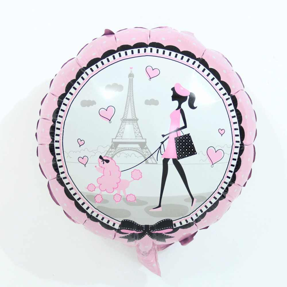 2pcs 18 inch printed Paris Pink girl Eiffel Tower foil balloons Girls birthday party Wedding Valentine's Day decoration balls