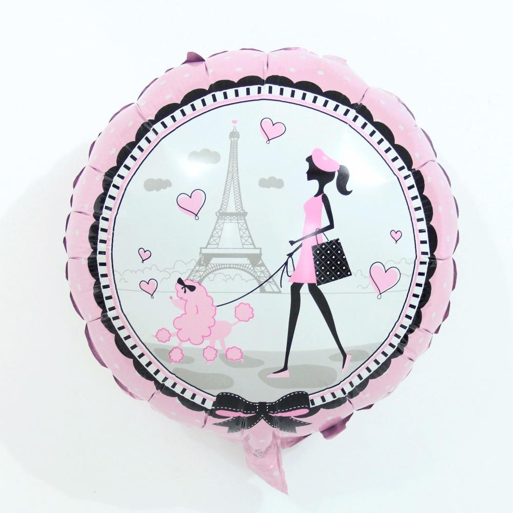 2pcs 18 inch printed Paris Pink girl Eiffel Tower foil balloons Girls birthday party Wedding Valentine's Day decoration balls(China)