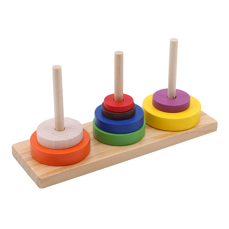 Color Ten Layer Tower Of Hanoi Adult Classical Intelligence Education Puzzle Wooden Toys