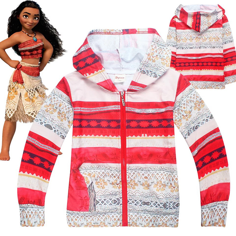 Kid Girls Spring Autumn Cheap Halloween Costume Sweatshirt Moana Vaiana Child Cotton Hoodie Cosplay Gift For Teenage 4-10T