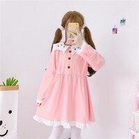 Small fresh Japanese Sweet Lolita Sailor Collar Long Sleeve Dress Cute Cat Embroidery Ruffles A line Doll Dress Spring Autumn