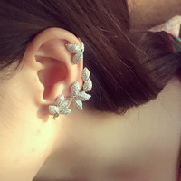 925 silver needle temperament style leaves leaf ear studs aesthetic micro set zircon ear clip fashion accessories