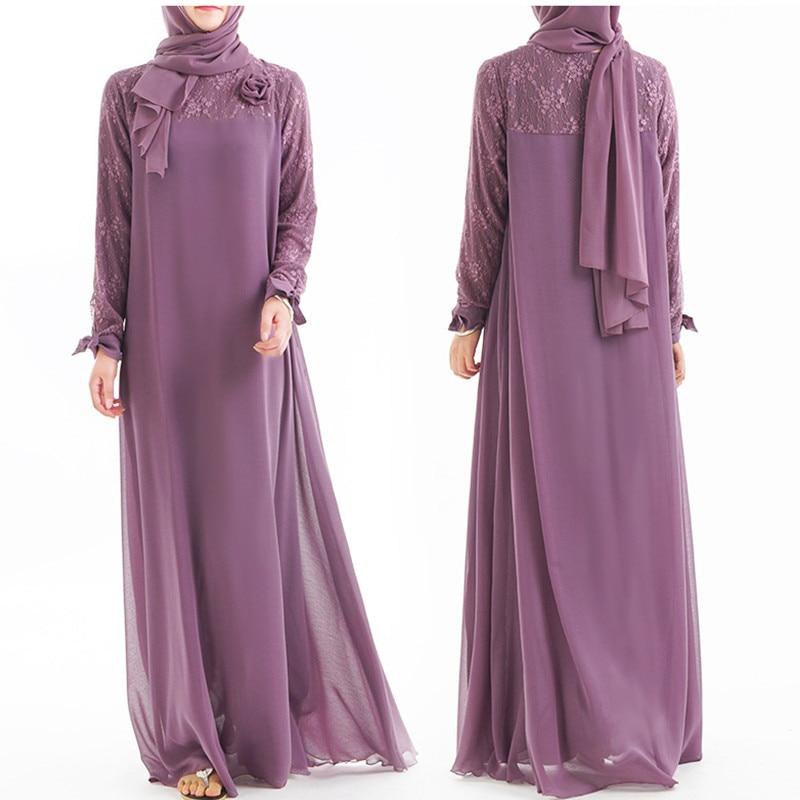Abaya Robe Hijab Dress Kaftan Turkey Islamic Clothing Flower Dubai Lace Muslim Qatar