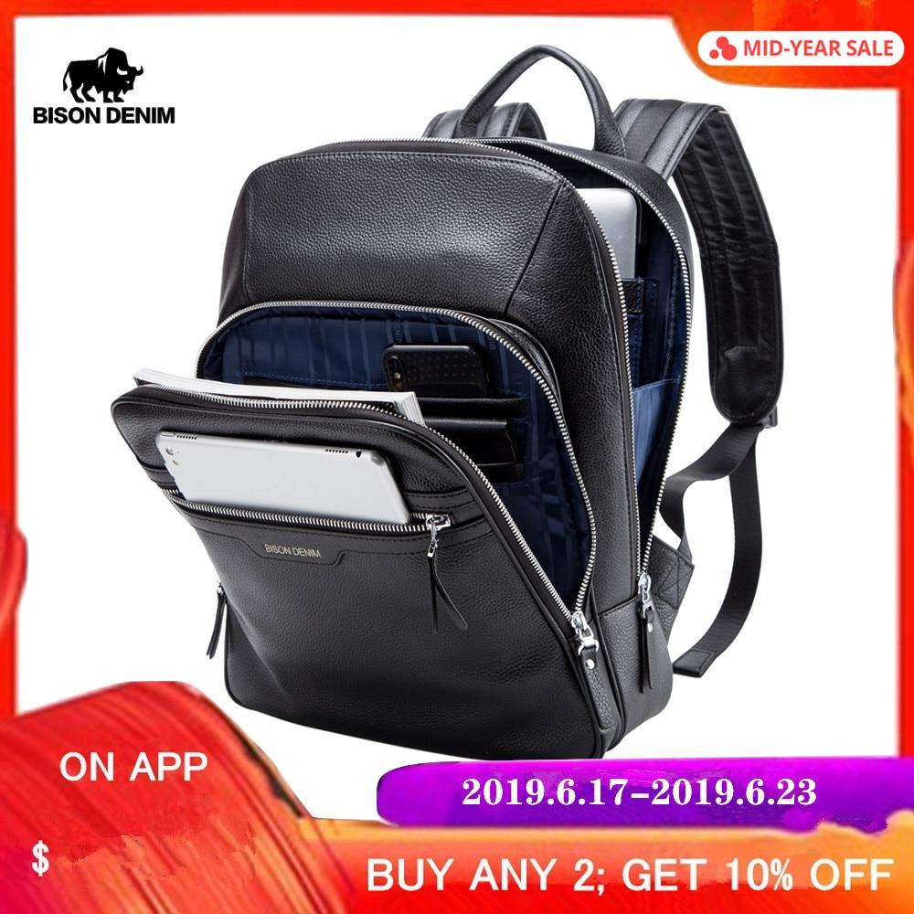 BISON DENIM sac à dos en cuir véritable homme 14 pouces sac à dos pour ordinateur portable sac à dos de voyage homme mode sac à dos cartable pour hommes N2337