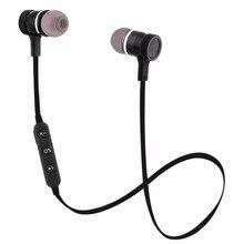 2018 Nova Sem Fio Bluetooth Fone de Ouvido Esporte de Corrida de Metal Magnético Super Bass fone de Ouvido Estéreo Fones De Ouvido Com Microfone