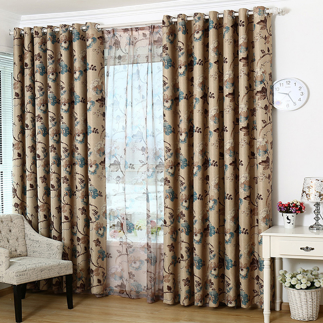 Ready Made Custom Vintage Floral Blackout Curtains For Living Room Bedroom Decorative Window Curtain Panel Drapes