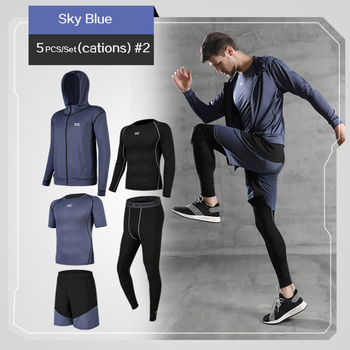 5 Pcs/Set Men's Tracksuit Gym Fitness Compression Sports Suit Clothes Running Jogging Sport Wear Exercise Workout Tights 12