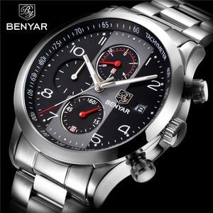 Image 5 - BENYAR reloj para hombre, cronógrafo de lujo, resistente al agua, militar, de pulsera, deportivo, de acero, masculino, 5133