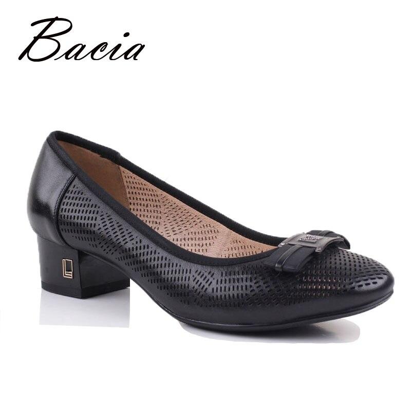 ФОТО Bacia 2017 New Hollow Design Shoes Women Solid Black Square Heel Pumps Slip-on Classical Style High Quality Handmade Shoes VB049