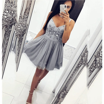 2019 Beading Short Homecoming Dress Sequines Tank Prom Dress Sweetheart Vestido de Noiva Party Gown Robe De Mariee фото