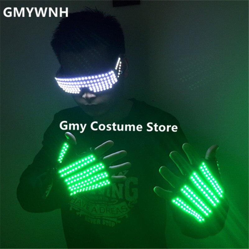 TT3 Green led light gloves dj luminous party gloves ballroom dance lighted glasses robot man stage wears party performance disco