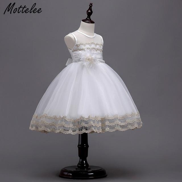 Mottelee Formal Dress For Kids Girls White Princess Ball Gown Flower