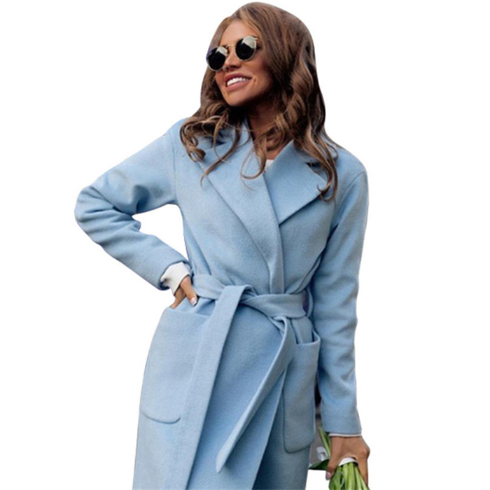 MVGIRLRU elegant Long Women's coat lapel 2 pockets belted Jackets solid color coats Female Outerwear 8