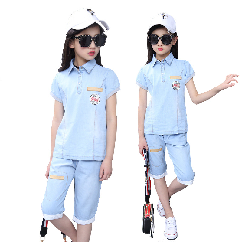 Summer Kids Clothing Sets For Girls Denim Outfits Short Sleeve Denim T-Shirts & Shorts Children Sports Suits Tees Girls Jeans kids clothes summer brand t shirt boys girls t shirts kids polo shirts children classic sport cheaper tees short sleeve clothing