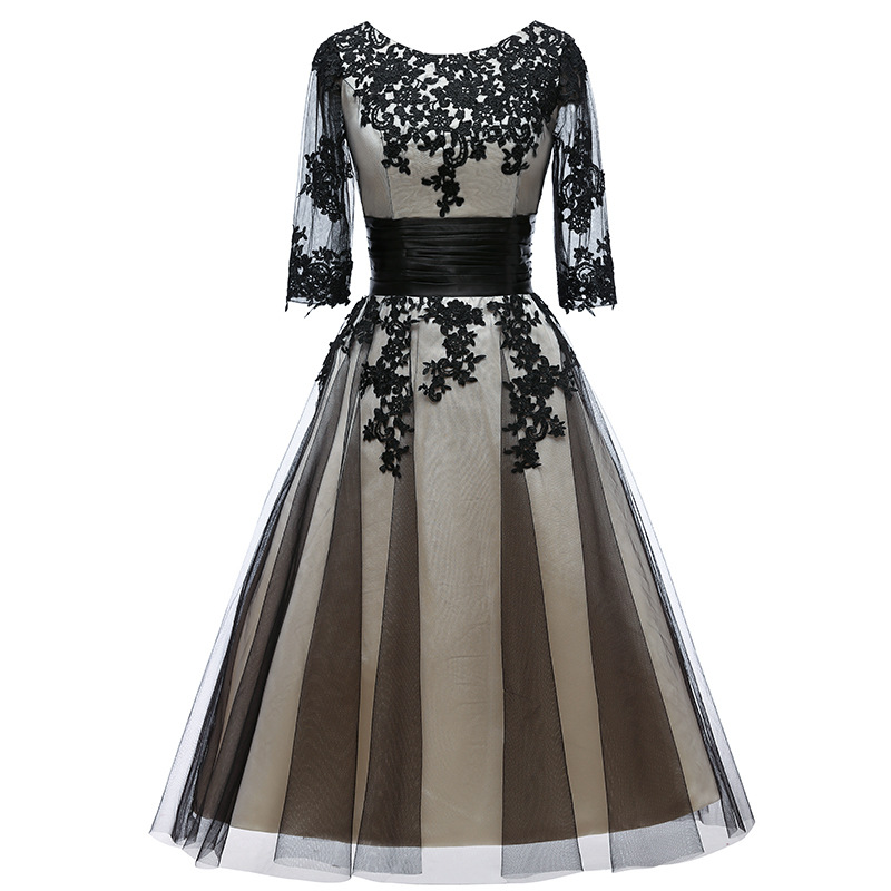 2019 New Elegant Evening Dress Appliques Lace Red Carpet Party Dress A-Line Prom Dresses Full Sleeve Robe De Soiree