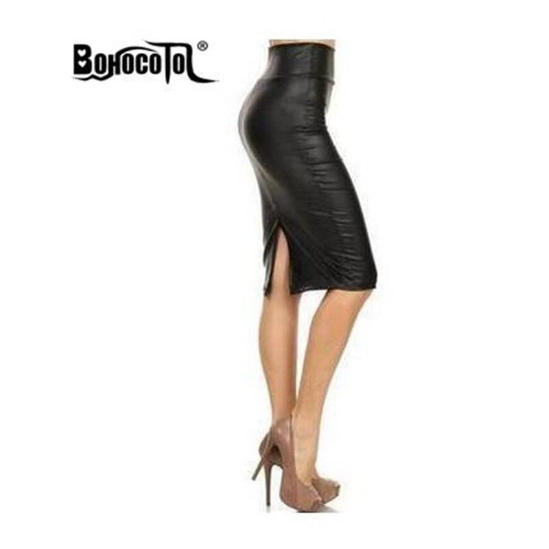 Bohocotol Women Skirt Midi Skirt OL Sexy Open Slit Slim Stretch High Waist  Faux Leather Pencil Skirt Elegant Ladies Skirts