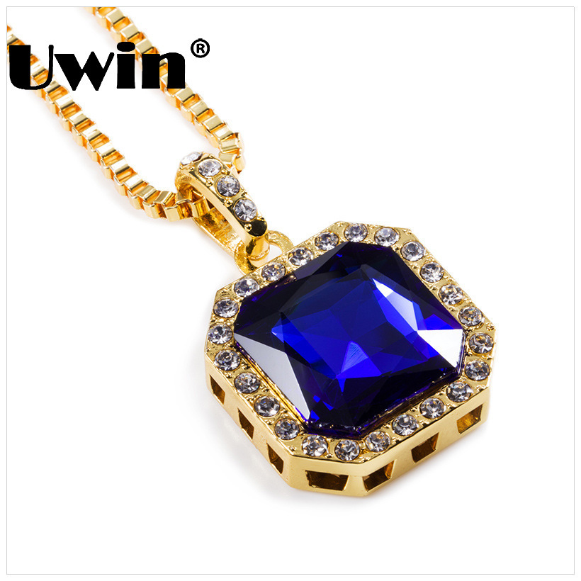 fashion bling bling iced out rhinestone pendant chain gold square red black blue green white. Black Bedroom Furniture Sets. Home Design Ideas