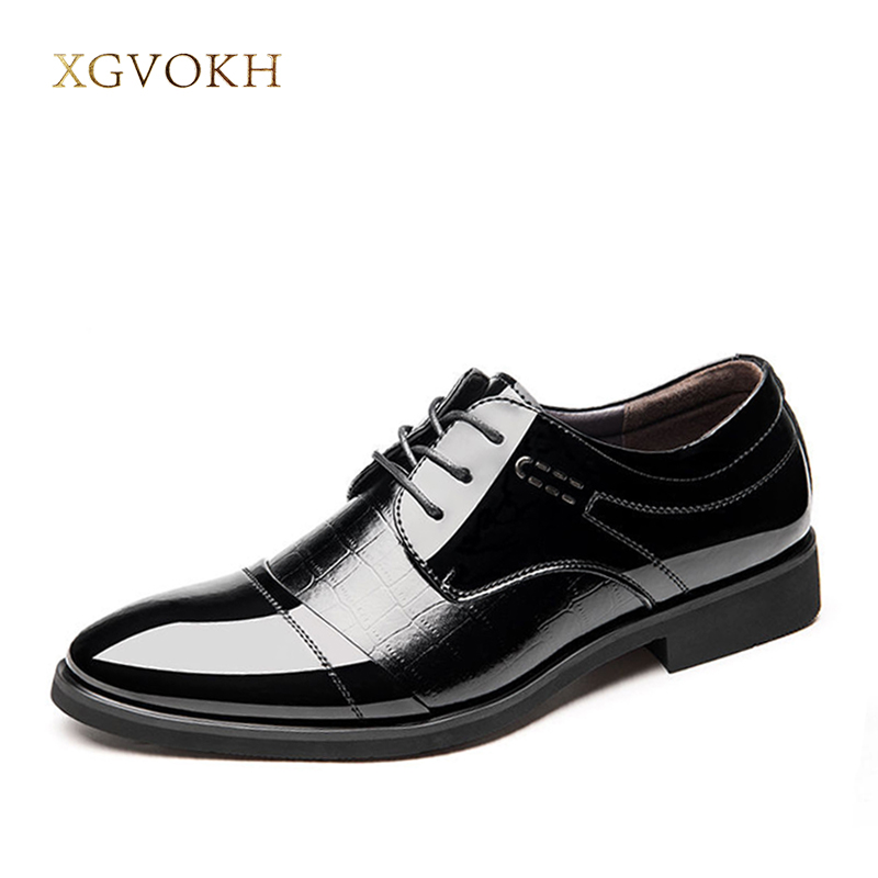 Oxford Leather Men's Shoes Lace Up Casual Business Shoes Spring & Autumn Men Fashion Wedding Black Shoes XGVOKH Brand 2017 men shoes fashion genuine leather oxfords shoes men s flats lace up men dress shoes spring autumn hombre wedding sapatos