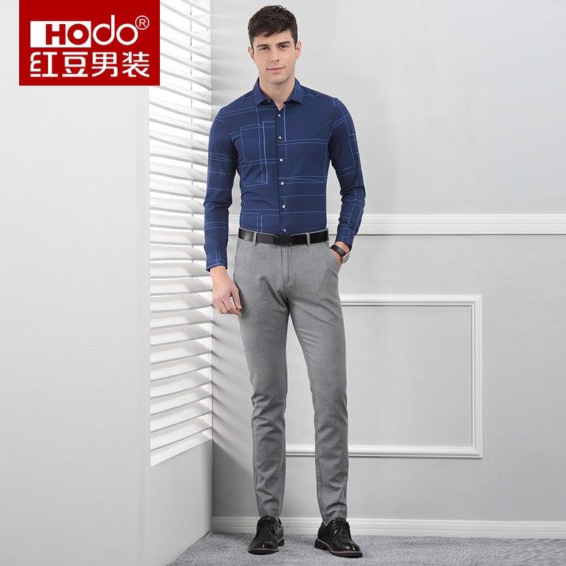 Hodo Brand Men Striped Shirt Long Sleeve Blue Slim Casual Simple