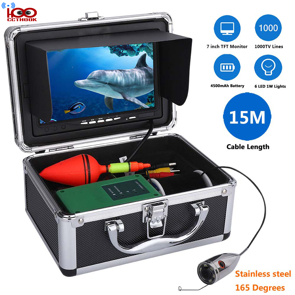 Détecteur de poissons de câble d'extension de 15 m avec la couleur CCD HD 1000TVL sous-marine caméra vidéo de pêche 7 pouces couleur TFT moniteur couverture Anti-soleil