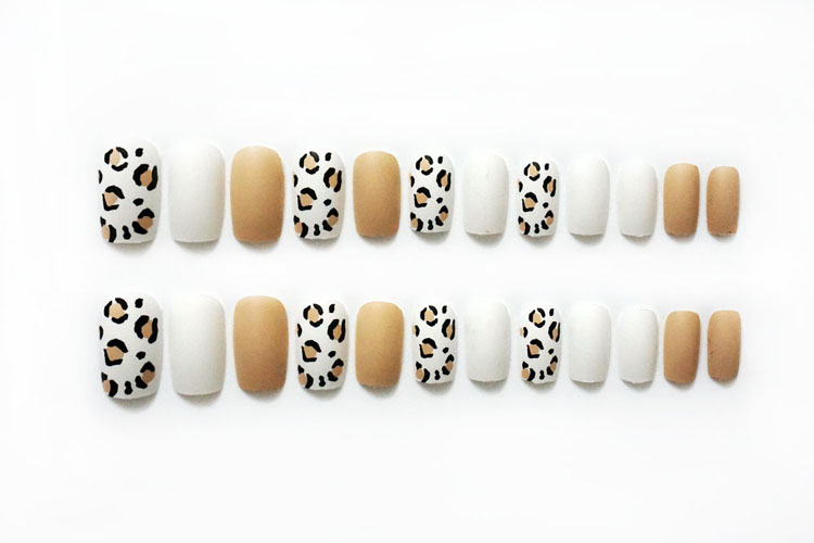 Image 5 - 24pieces Hot Sale Leopard Print Frosted 3D Fashion Sexy Style Long Nail Art Fake false Sticker for Nails Tips With Free Glue-in False Nails from Beauty & Health