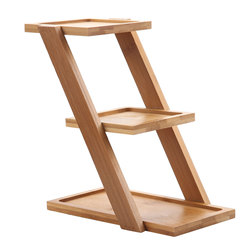 T4U 7.25 Inch bamboo Plant Stand succulent planter Shelf Holds 3-Flower Pot Planters bonsai Holder Planters Stand