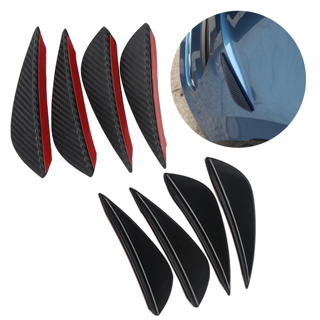 Dewtreetali Universal 4pcs Fit Front Bumper Lip Splitter Fins Body Spoiler Canard Valence Chin Carbon Fiber Color Car Styling