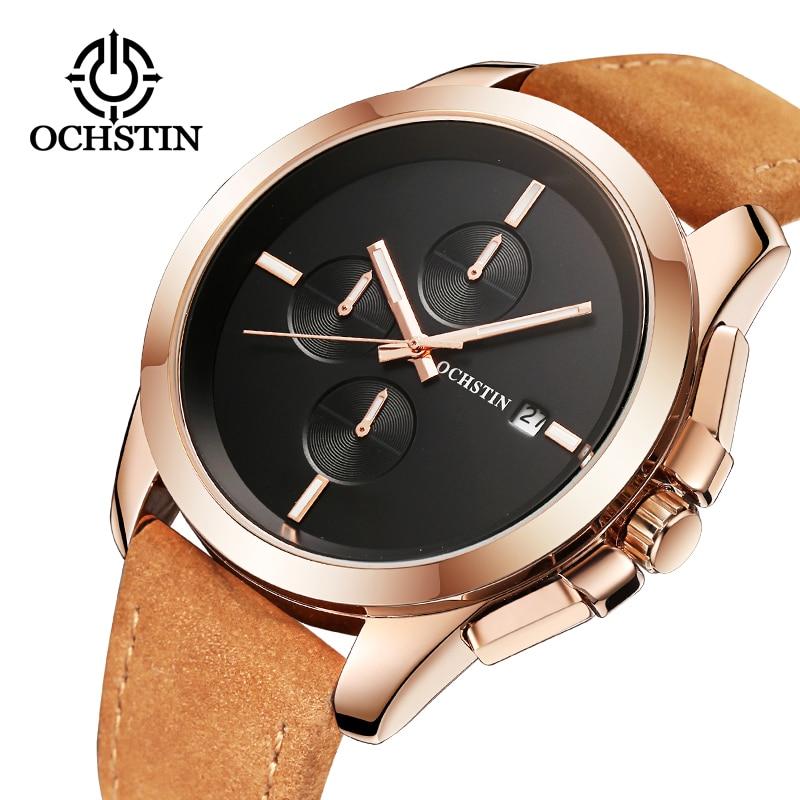 2017 Yeni OCHSTIN Saatler Erkekler En Lüks Marka Sıcak Tasarım Askeri Spor Bilek saatler Erkekler Kuvars Saatı Erkek Deri İzle
