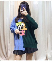 High quality 100% wool sweaters 2019 autumn winter cartoon pattern womens sweater tops A340