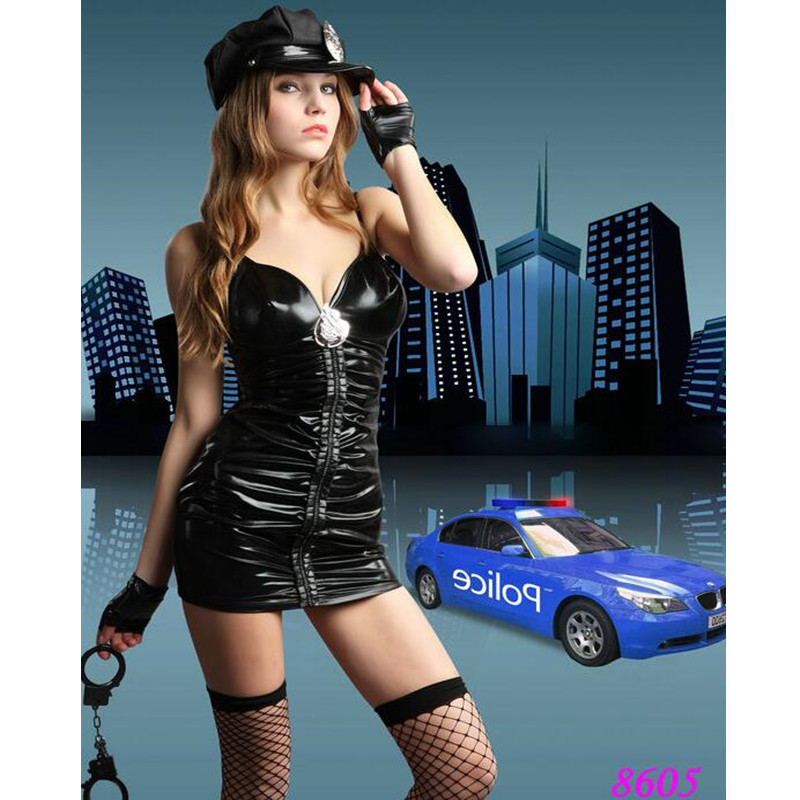 New Ladies Faux Leather Police Fancy Halloween Costume Sexy Cop Outfit Women Sexy Police Officer Costume Fancy Party Dress 8605
