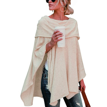 Off Shoulder Top Asymmetric Overlap Solid Poncho Pullover Sweater Women Fashion Clothing Ladies Casual Fall Tops 1