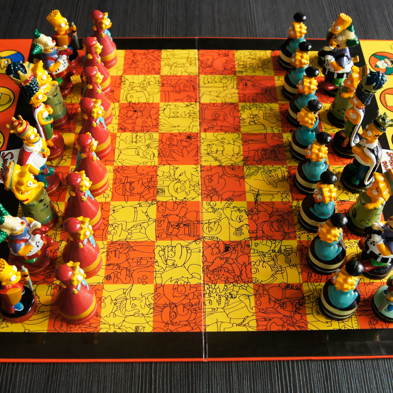 Homer Bart Simpson Doll Chess Puzzle Game Color Cartoon Character Child Chess hercules abalone bao zhuoyou king of chess strategy puzzle chess parent child desktop toys plastic box
