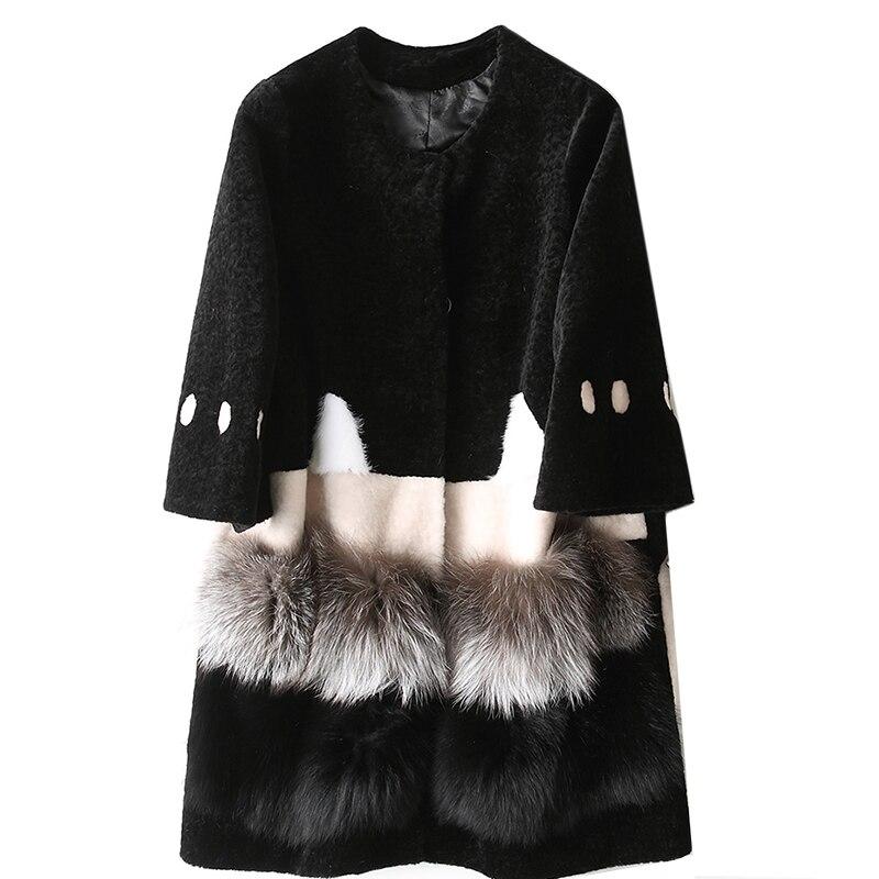 2018 шуба Для женщин зима теплая с длинным рукавом парка верхняя одежда милый кролик узор стрижки овец шуба женская Меховая куртка