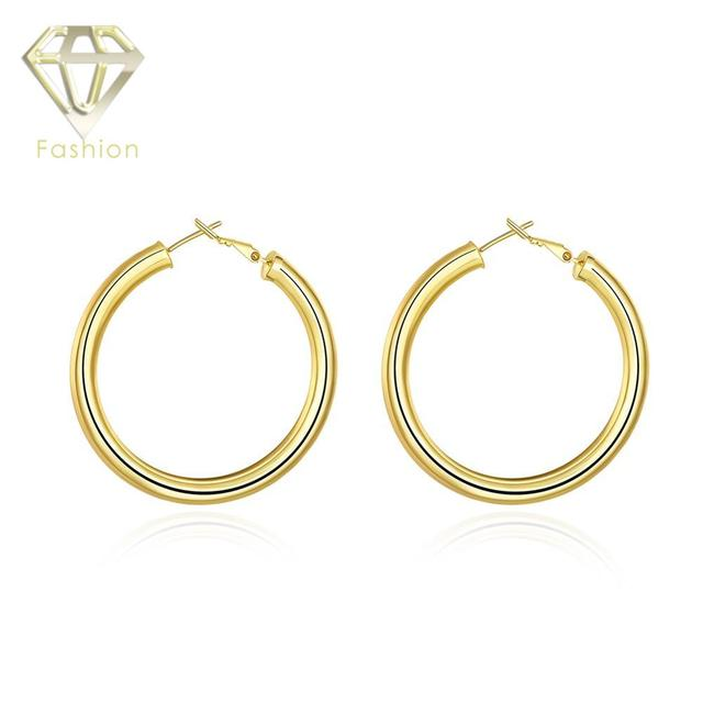 Gold Color Low Price High Quality Cute Little Like 50mm Diameter Round Hoop Earrings Fashion