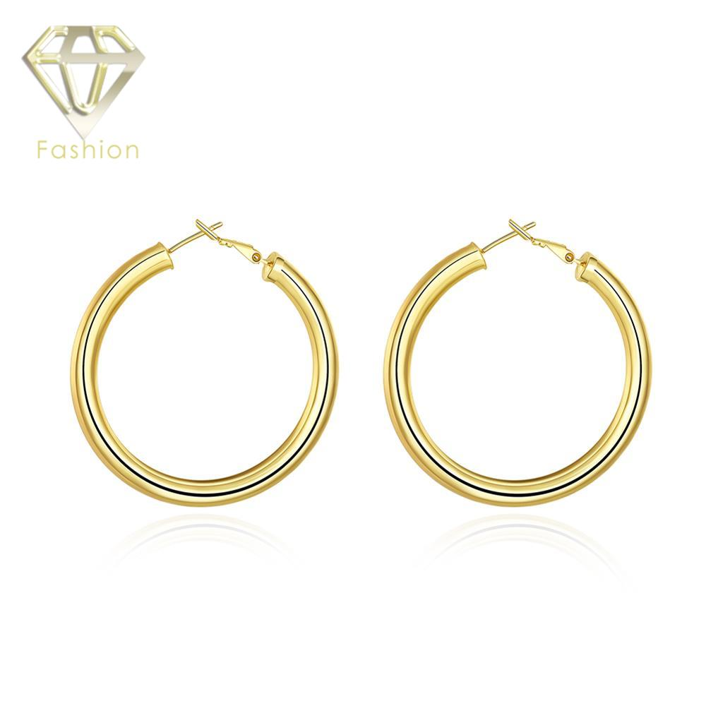 Gold Color Low Price High Quality Cute Little Girl Like 50mm Diameter Round Hoop  Earrings Fashion