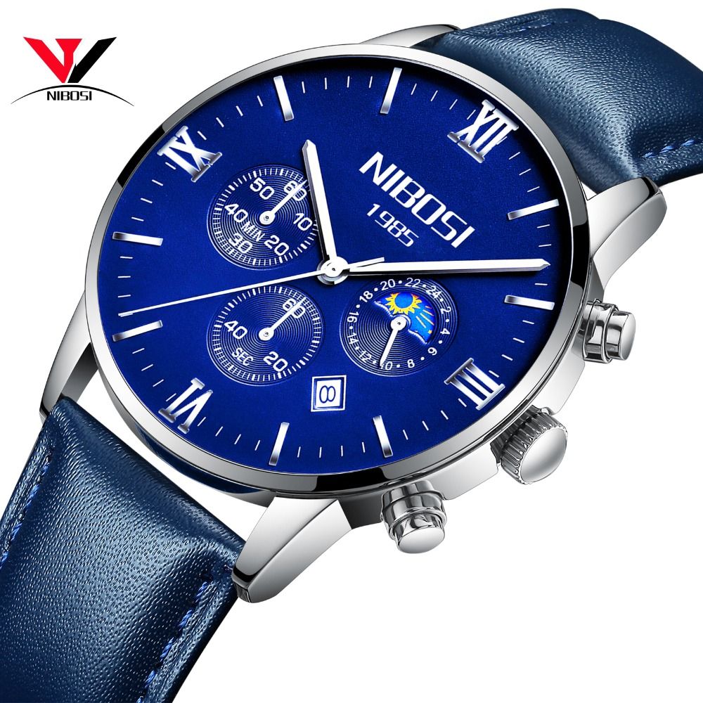 montre homme marque de luxe nibosi 2018 men watch brand luxury leather watch men waterproof with