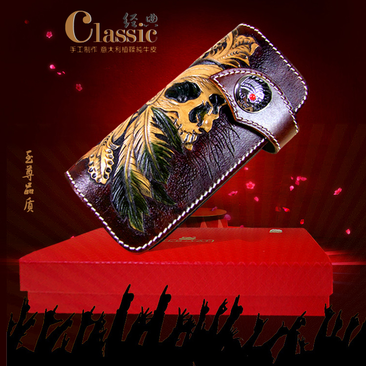 OLG.YAT handmade Skull wallet men purse Vegetable tanned leather wallets mens handbag long hasp bags Retro Choi cloth pure cartoon pokemon go purse pocket monster pikachu johnny turtle ibrahimovic zero wallets pen pencil bags boy girl leather wallet