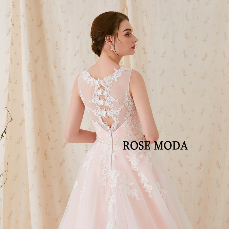 Купить с кэшбэком Rose Moda Gorgeous Lace Wedding Dress Pink Wedding Dresses with Stunning Back Real Photos