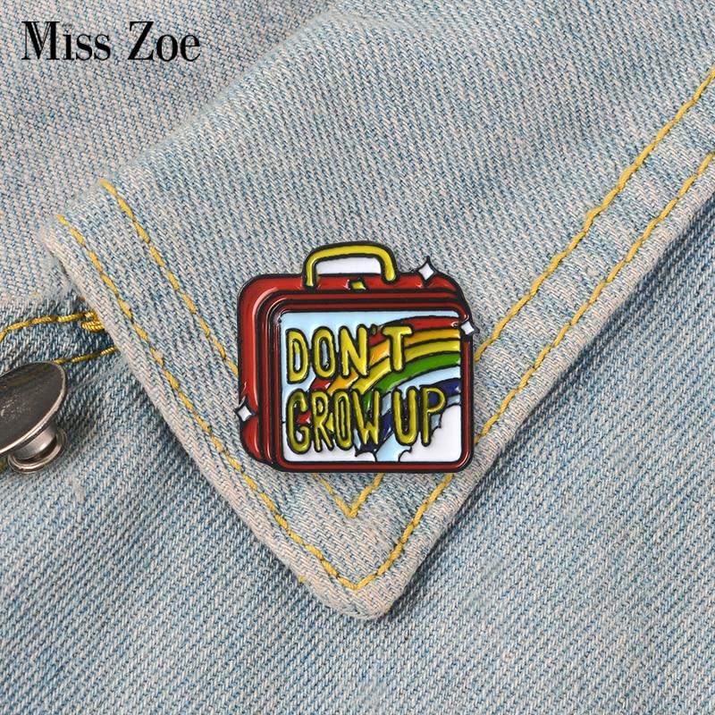 Rainbow pojemnik na Lunch plakietka emaliowana broszka klapie Denim Jeans worek na koszulę Cartoon biżuteria dla zwierząt prezent dla dzieci
