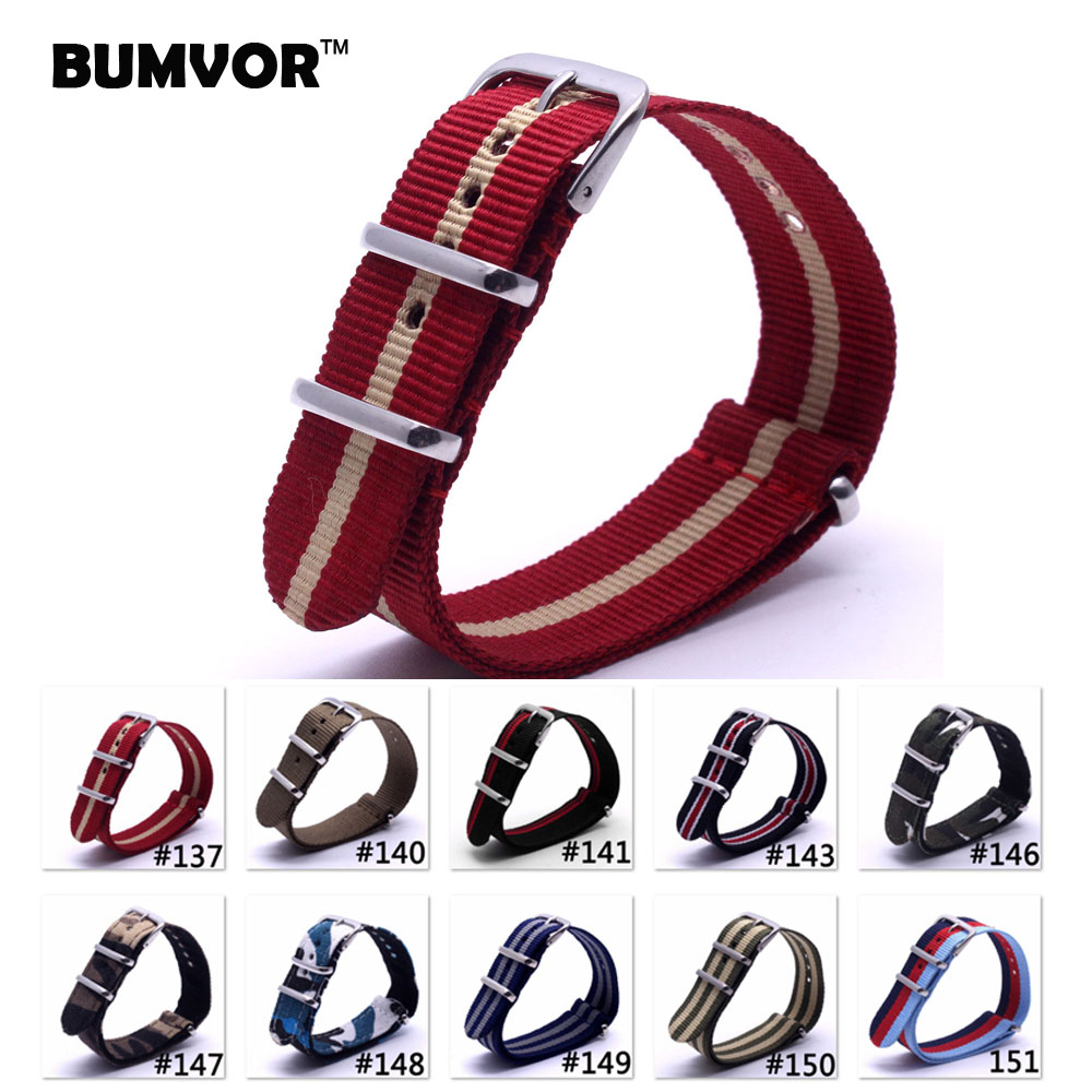 Code 137-151,2016 Nato Nylon Strap 20mm WatchBand Bracelet  Zulu Strap 20Mm Wristwatch Band Buckle Fabric strap on for hours