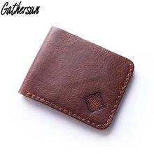 Мужской кожаный кошелек оригинального дизайна прошитый вручную